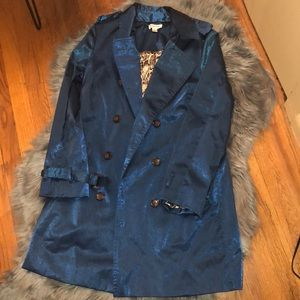 Shimmery Deep Blue Trench Coat (SZ:S)